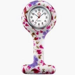 Lancardo Accessories - Silicone Nurse Watch - Lapel Pin-On Brooch Flowers